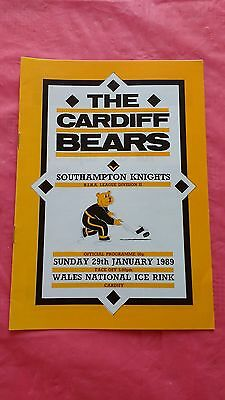 Cardiff Bears v Southampton Knights January 1989 Ice Hockey Programme