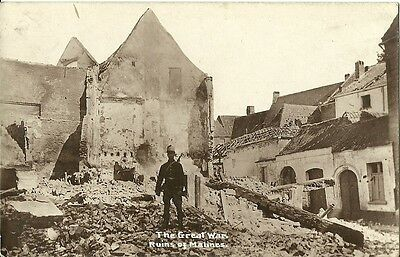 The Great War Ruins Of Malines C1916 Real Photo Postcard