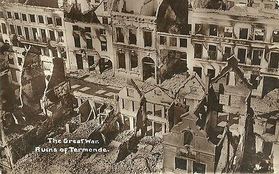 The Great War Ruins Of Termonde C1916 Real Photo Postcard