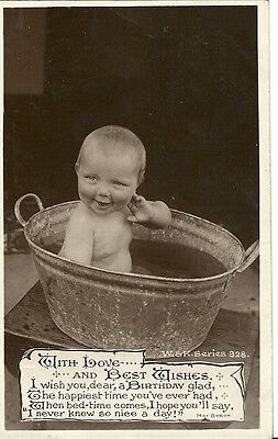With Love And Best Wishes Little Baby In Tin Bath C1910 W&k Real Photo Postcard