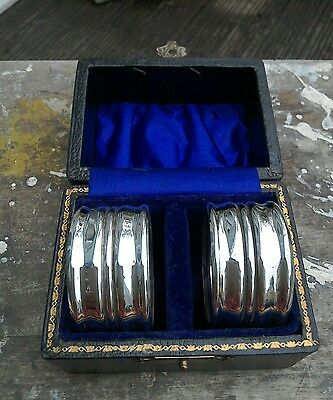 Antique Pair Of Silver Plated Napkin Rings In Original Box