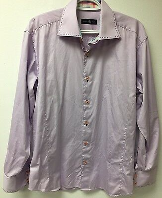 Stone & Rose Men's Dress Shirt Lilac 100% Cotton Size 4/L