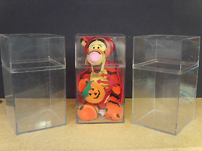 """Display Case Cubes (3) Clear Plastic 4"""" x 4"""" x 8"""" Wholesale Pricing"""
