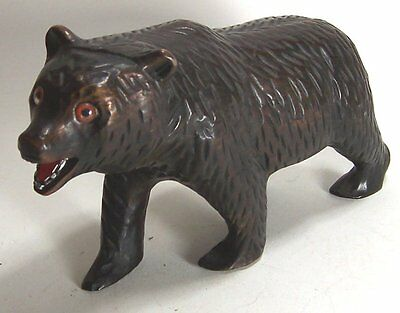 Vintage Carved Wooden Black Grizzly Bear Figurine -Maybe Black Forest?