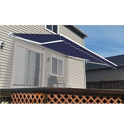 ALEKO Retractable Patio Awning 10 X 8 Ft Deck Sunshade Blue Color