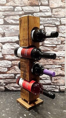 upcycled rustic Reclaimed timber wooden wine rack dark oak waxed with Briwax