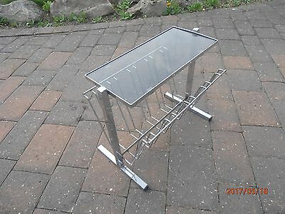 Vintage 1980s Chrome & Smoked Glass Coffee Side Table Magazine Record Paper Rack
