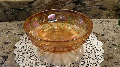 Vintage Marigold 3 Footed Molded Carnival Glass Compote / Bowl