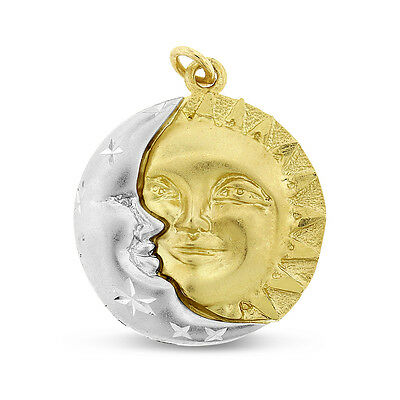 Vintage Sun & Moon Friendship Charm In Solid 14k White/Yellow Gold 3.6 Grams