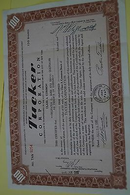 TUCKER AUTOMOBILES STOCK CERTIFICATE 1948 100 Temporary GENUINE