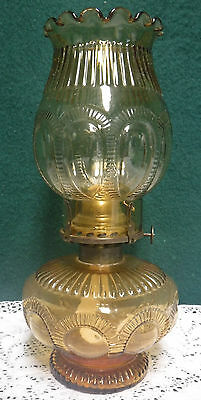 Vintage Amber Signed Imperial Zipper Loop Oil Lamp Matching Shade Rare