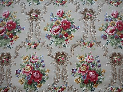 Pretty unused vintage 50's Citadel floral barkcloth fabric - 1.1M lengths