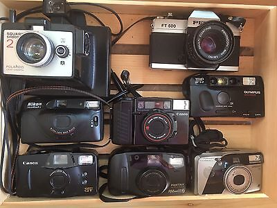 Camera Lot 8 Preowned Petri FT 500,Pentax, Polaroid, Olympus, Nikon, Canon