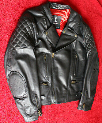 Richa Triple Quilt Classic Vintage Leather Motorcycle Motorbike Jacket Black 44""