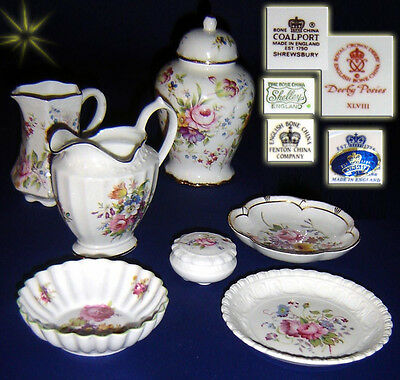 Fine Collection Of Rose Floral Pattern  Named China Ware  Coalport Shelley  More