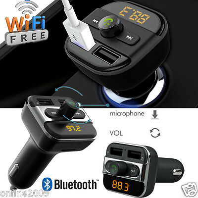 Bluetooth Handsfree Car Kit  FM Transmitter Dual USB Charger Radio SD MP3 Player