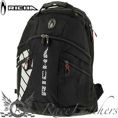 Richa Pitstop Black Motorcycle Motorbike Bike Rucksack Backpack Ruck Sack