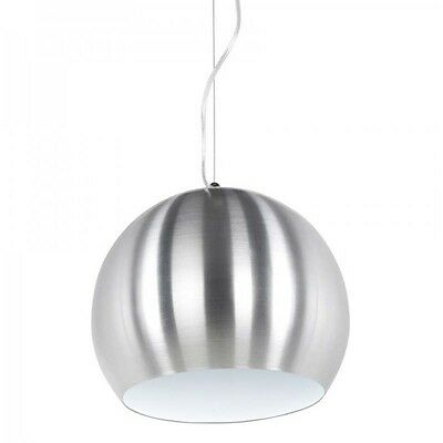 "Paris Prix - Lampe Suspension ""Bulbo"" Chrome & Blanc"