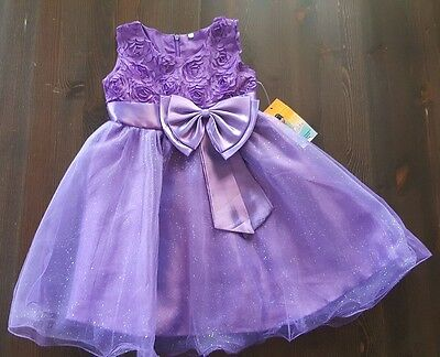 NWT Purple 3T Toddler Girl Dress Flower Sparkle Wedding Party Pageant