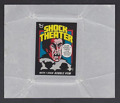 1975 Topps Shock Theater Test Issue Wax Pack Wrapper - Sharp Nm-Nm/mt Condition