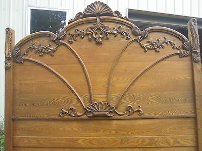 Vintage victorian shaker style solid oak full size bed with rails