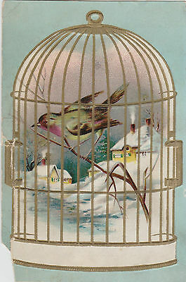 Bird In Cage Winter Scene Lion Coffee Woolson Spice Co. Victorian Trade Card