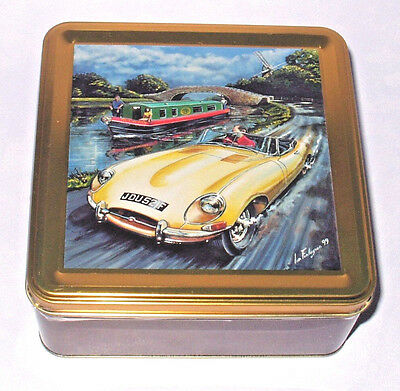 """E-TYPE JAGUAR & CANAL LONG BOAT 6"""" COLLECTIBLE 3D EMBOSSED TIN BOX Longboat VGC"""