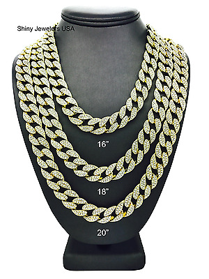 bf1f5f25419a7e MENS ICED OUT Gold Finish Miami Cuban Choker Chain 16