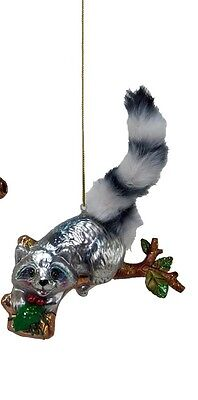Katherine's Collection raccoon ornament furry tail Christmas glass 22-524732