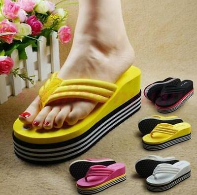Yellow US8 Womens Flip Flops Wedge Striped Creepers Mid Heels Thong Sandals