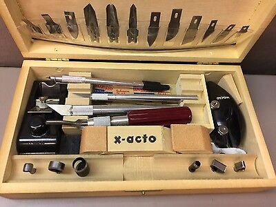 Rare Deluxe VintageLarge X-Acto Knife Tool Set in Dovetail Wood Box
