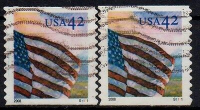 "Sc# 4238 - PNC singles - used - Pl#  S1111,  left stamp with ""seam line"""