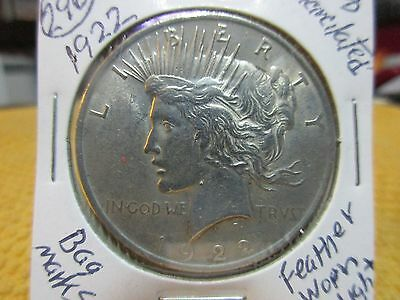 1922 Peace 90% Silver $1 Dollar,  (296), About Uncirculated, 95 Years Old,