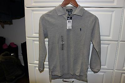 Polo Ralph Lauren Boys Long Sleeve Small Pony Polo Shirt Small 8 Grey NEW