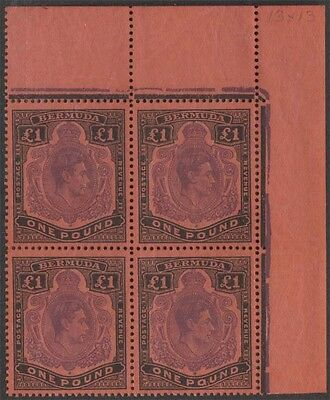 BERMUDA KGVI 1951 Issue £1 Keyplate Scott 128 SG121d Never Hinged Block cv £220.