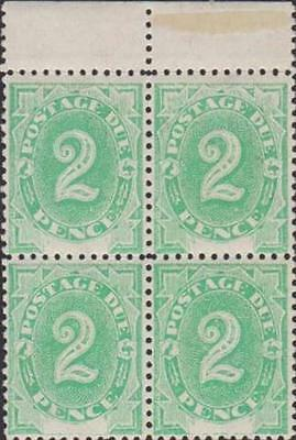 AUSTRALIA KEVII 1902 Postage Due 2d Scott J3 SGD3 Never Hinged Block of Four