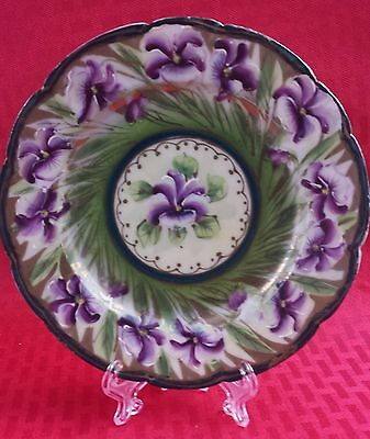 Vintage Collectible Nippon Green Plate With Violets Very Beautiful!