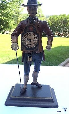 Vintage Figural Clock Gentleman With Cane Runs As Is Broken Minute Hand