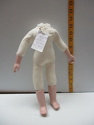 "# M-3 Vintage Cloth Doll Body Bisque Legs/arms For 17"" To 18"" Tall Doll"