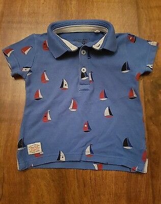 Boys Blue Next Nautical Boat Polo Shirt 6-9 months