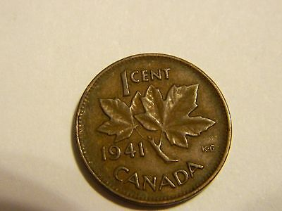 1941 Canada One Cent Penny Canadian Copper ------- Lot #2942