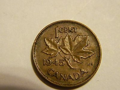 1945 Canada One Cent Penny Canadian Copper ------- Lot #2944