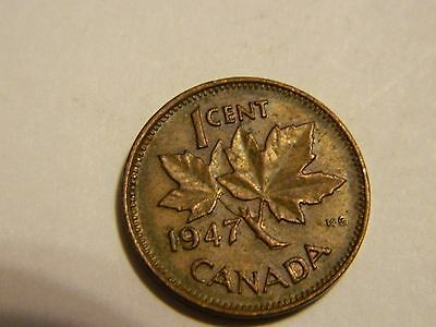 1947 Canada One Cent Penny Canadian Copper ------- Lot #2945