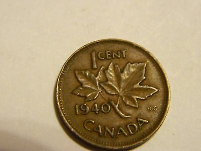 1940 Canada One Cent Penny Canadian Copper ------- Lot #2946