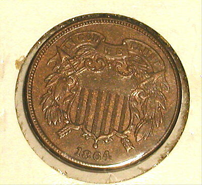 1864 Shield Large Motto Two Cent High Grade