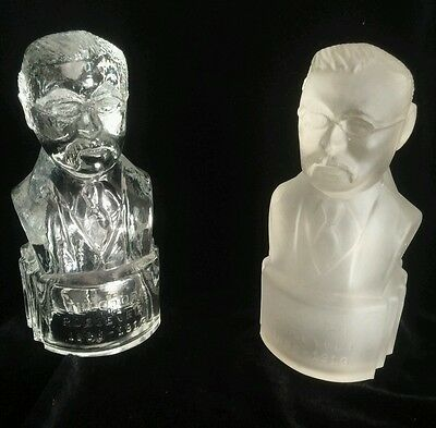 """Pair Of 5 1/2"""" Moulded Glass Bust Reads """"theodore Roosevelt 1858-1919"""""""