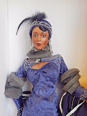 "Duke Ellington's MOOD INDIGO/Franklin Mint 17"" Black Porcelain Doll, NRFB"