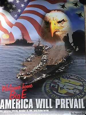 "USS Enterprise (CVN-65) Welcome Home Big ""E"" - America Will Prevail - 24"" x 18"""