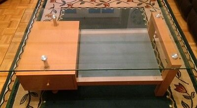 Glass Top Coffee Table with One Drawer