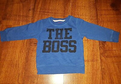 Boys Next Blue Boss Long Sleeved TShirt Sweater 9-12 months